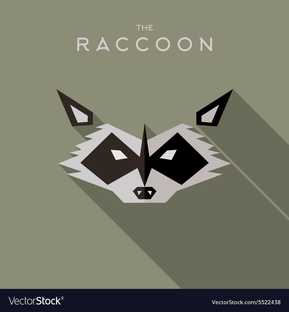 Mask raccoon hero superhero flat style icon vector