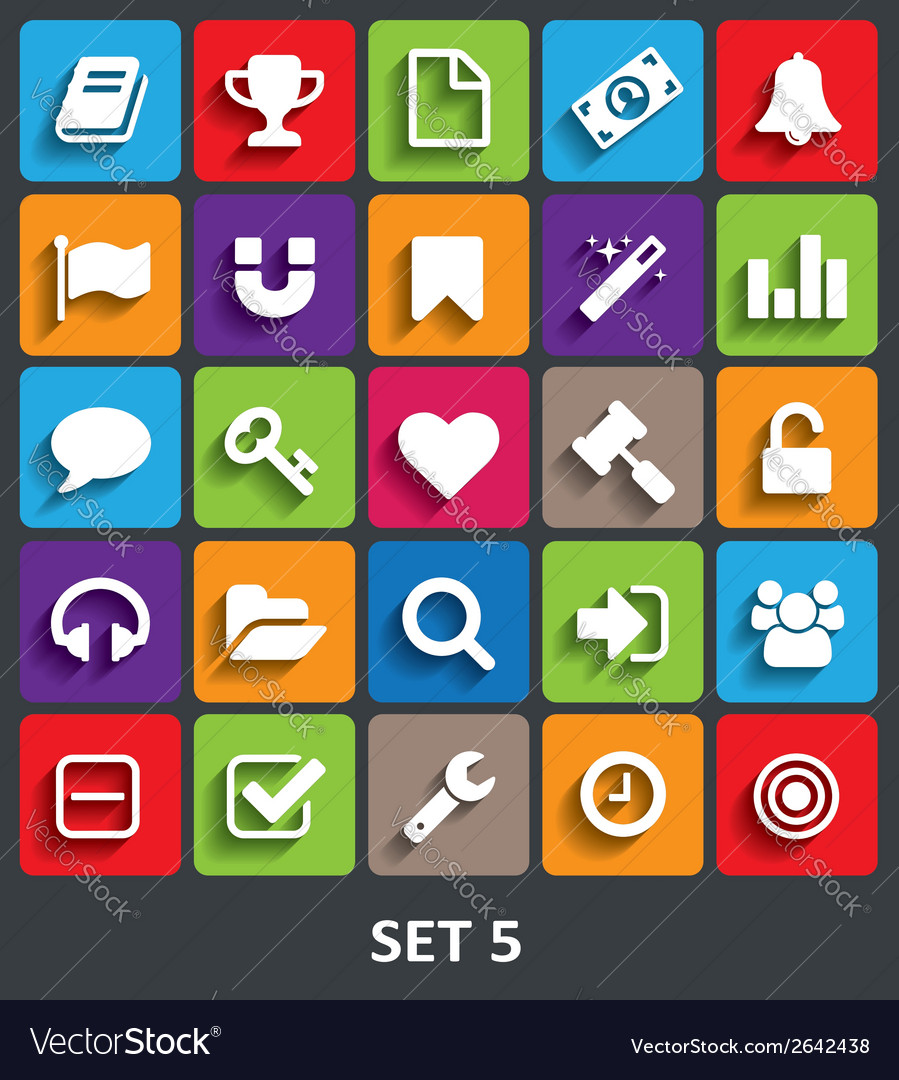 Trendy icons with shadow set 5 vector