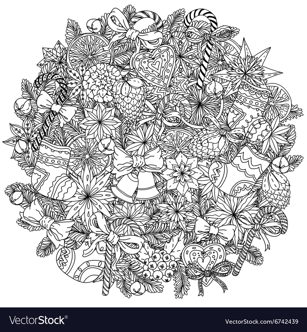 Circle christmas balls ornament vector
