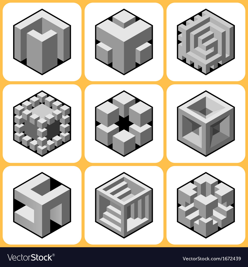 Cube icon set 7 vector