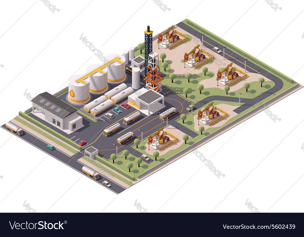 Isometric oil field icon vector