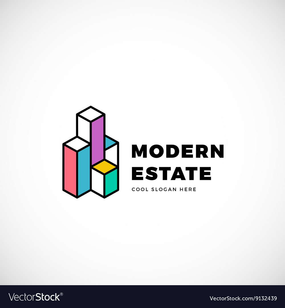 Modern estate abstract logo template vector