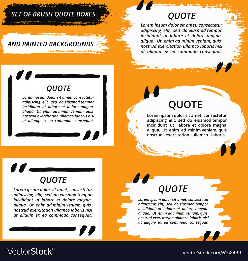 Quote boxes and brush strokes vector
