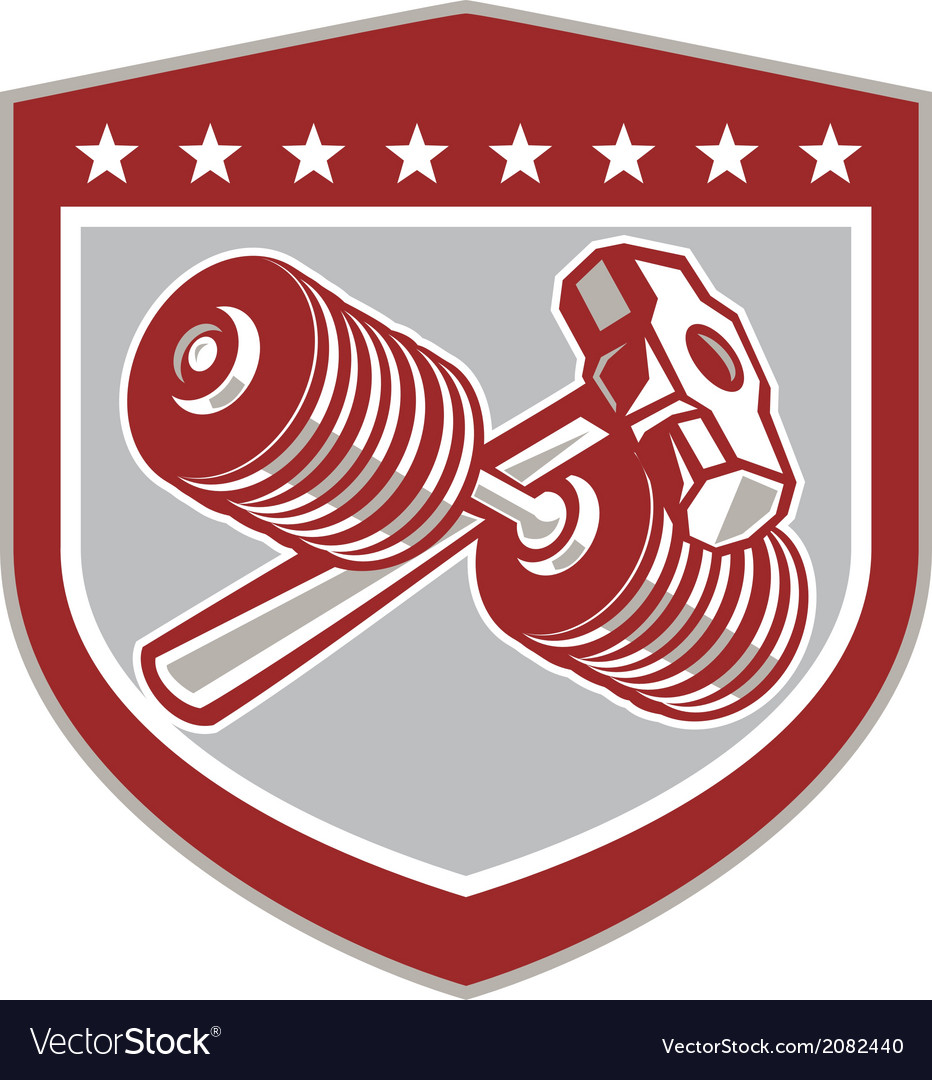 Crossed dumbbell and sledgehammer shield retro vector