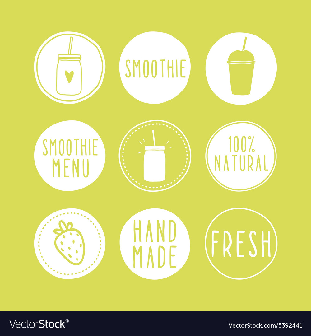 Hand drawn smoothie labels vector