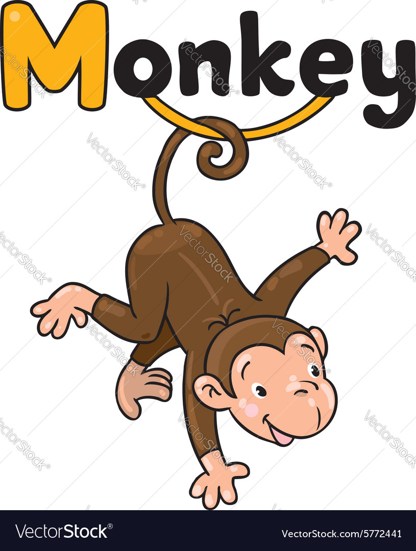 Litle funny monkey on lians alphabet m vector