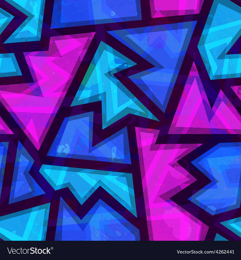 Purple geometric seamless pattern with grunge vector