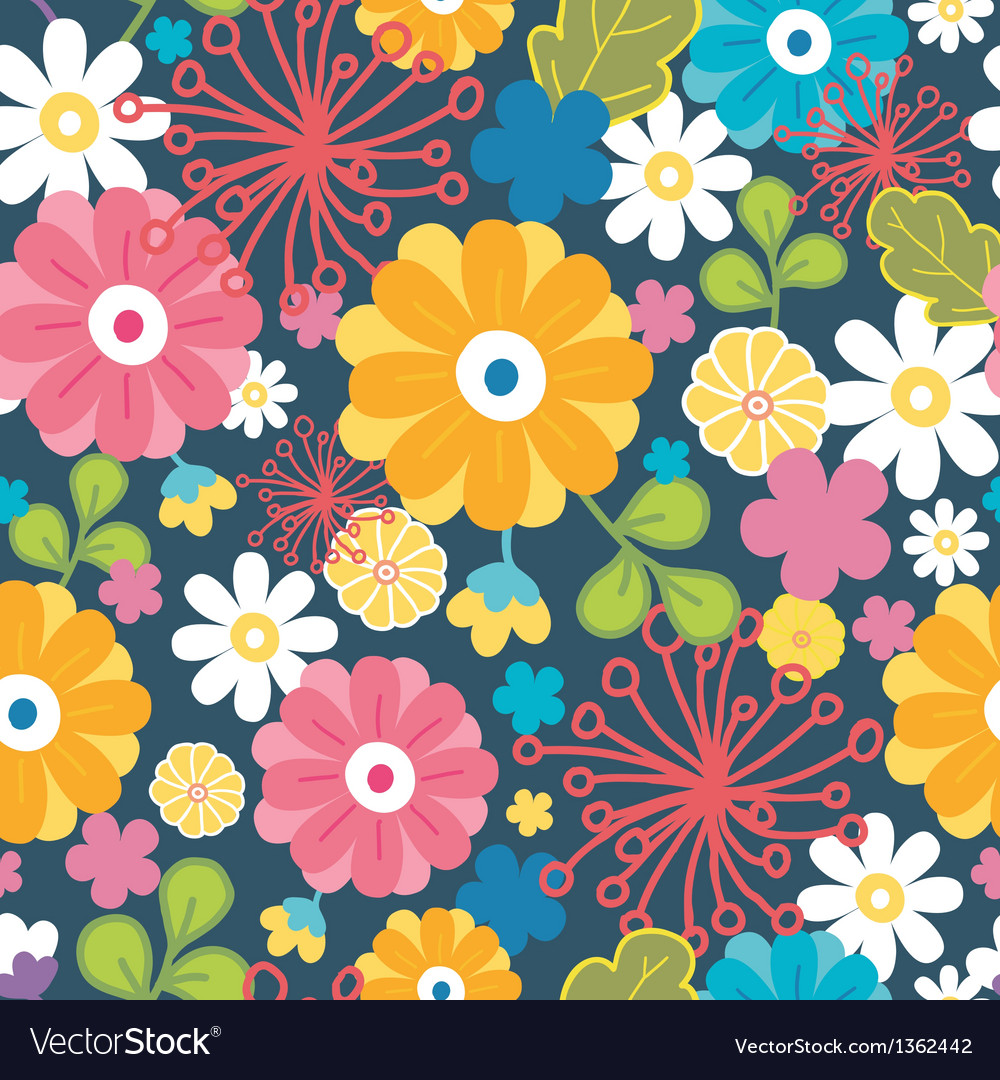 Colorful oriental flowers seamless pattern vector