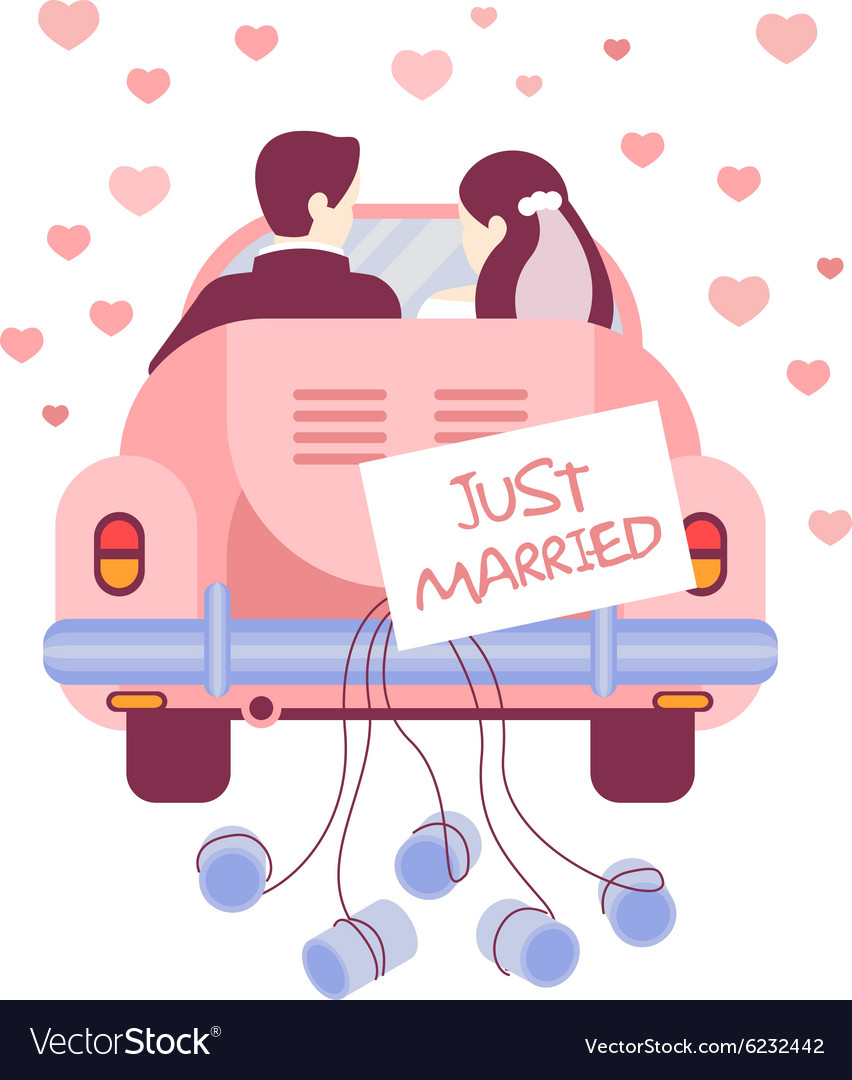Just married on car vector