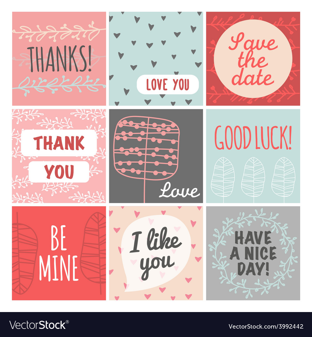 Thank you love you good luck vintage set vector
