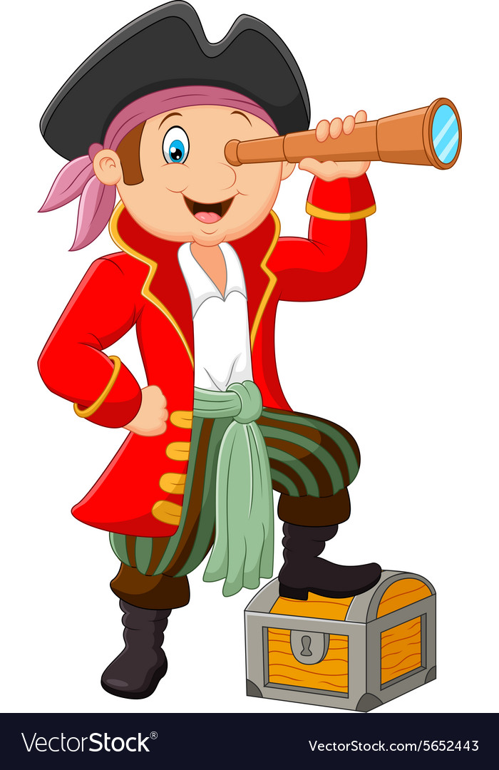Cartoon pirate looking through binoculars vector