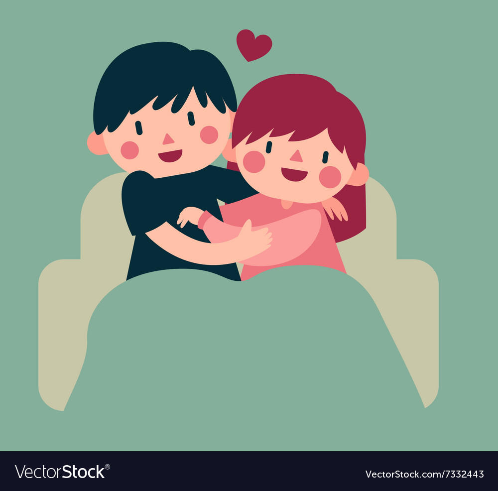 Couple hugging on sofa vector