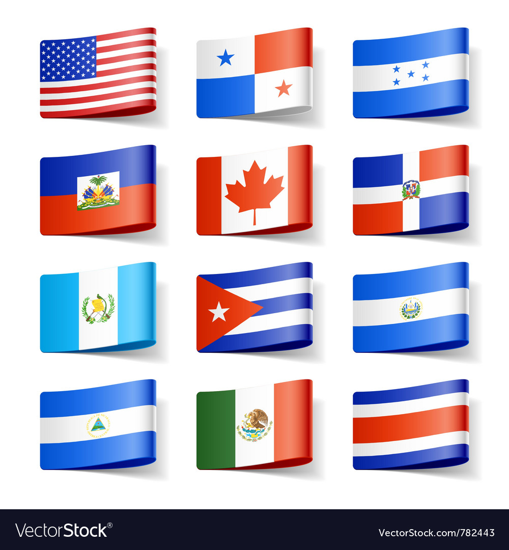 North america flags vector