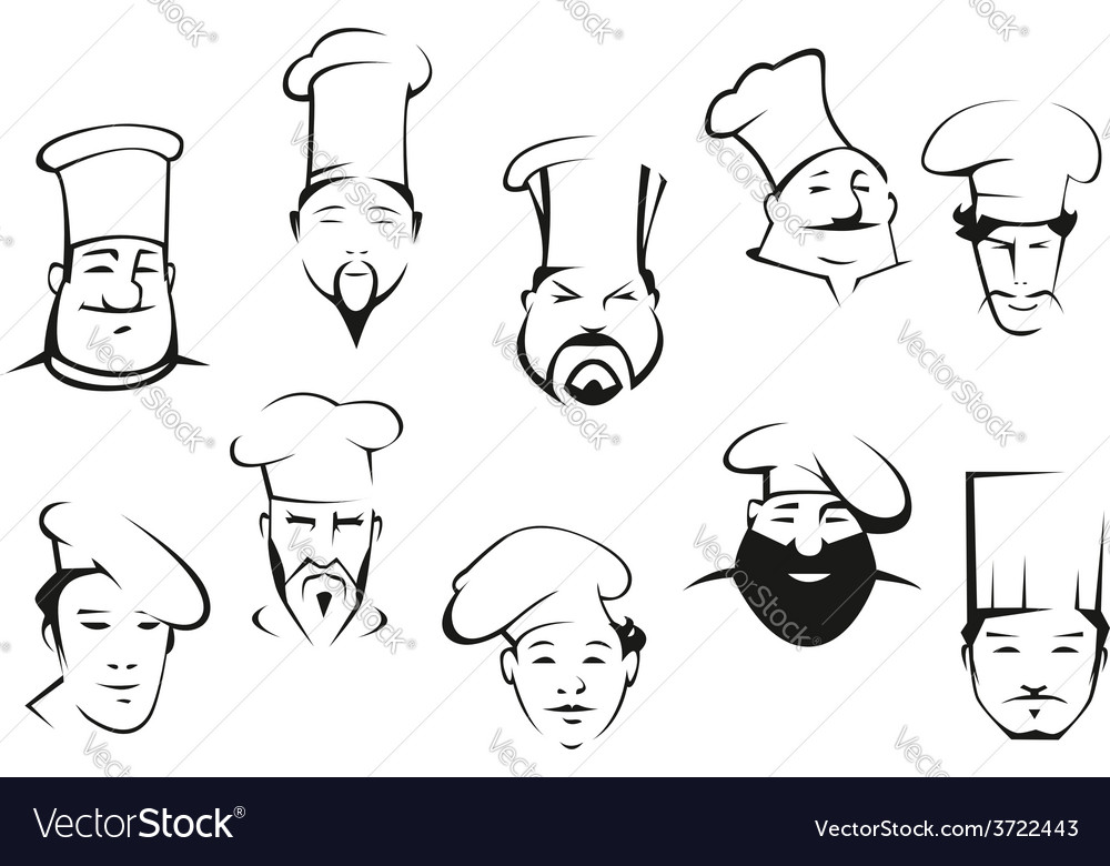 Portraits of chefs or cooks in cartoon sketch vector