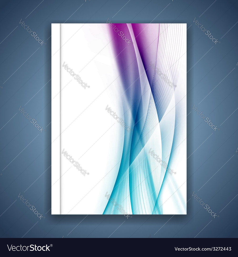 Satin bright blue smooth soft lines folder cover vector