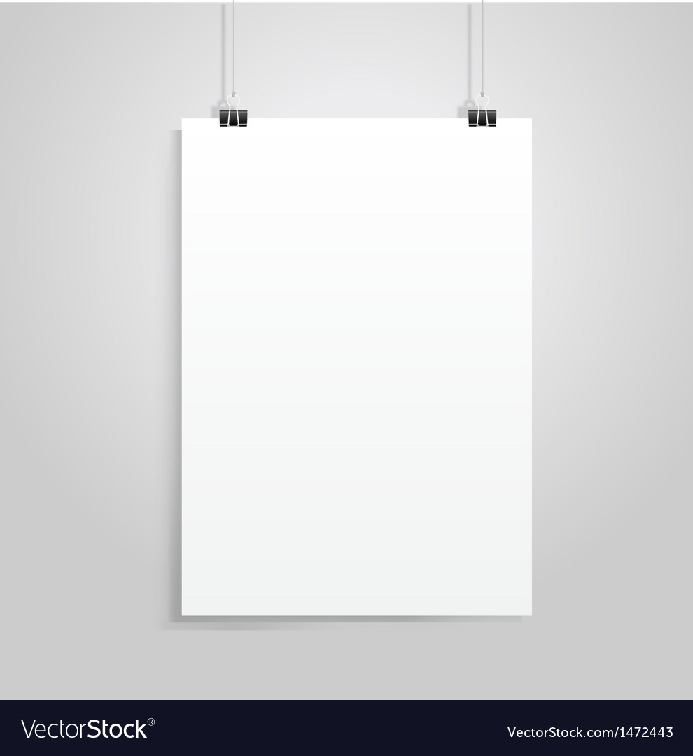 White paper with clip vector