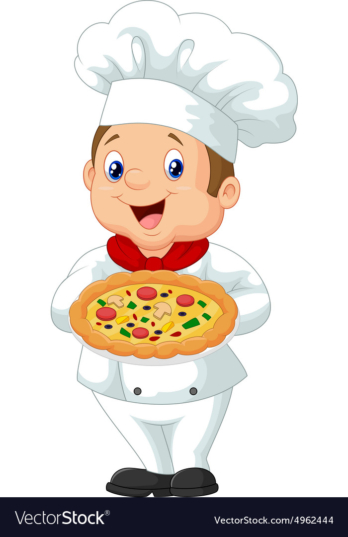 Chef holding pizza vector