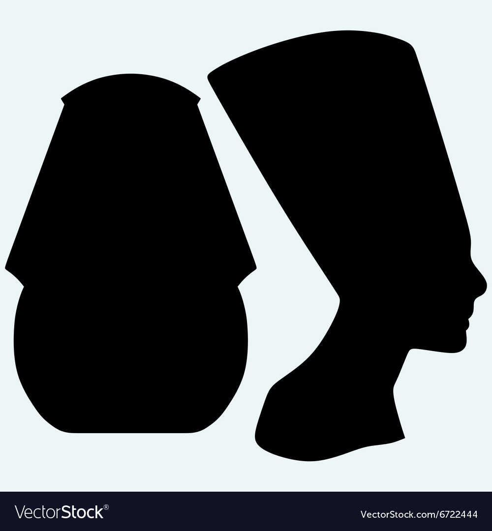 Portrait of pharaoh and nefertiti vector