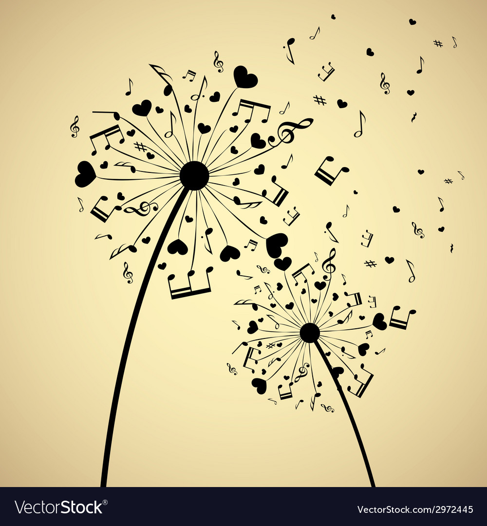 Dandelion with hearts and notes vector