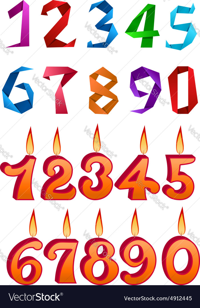 Sets of decorative numbers for holiday design vector