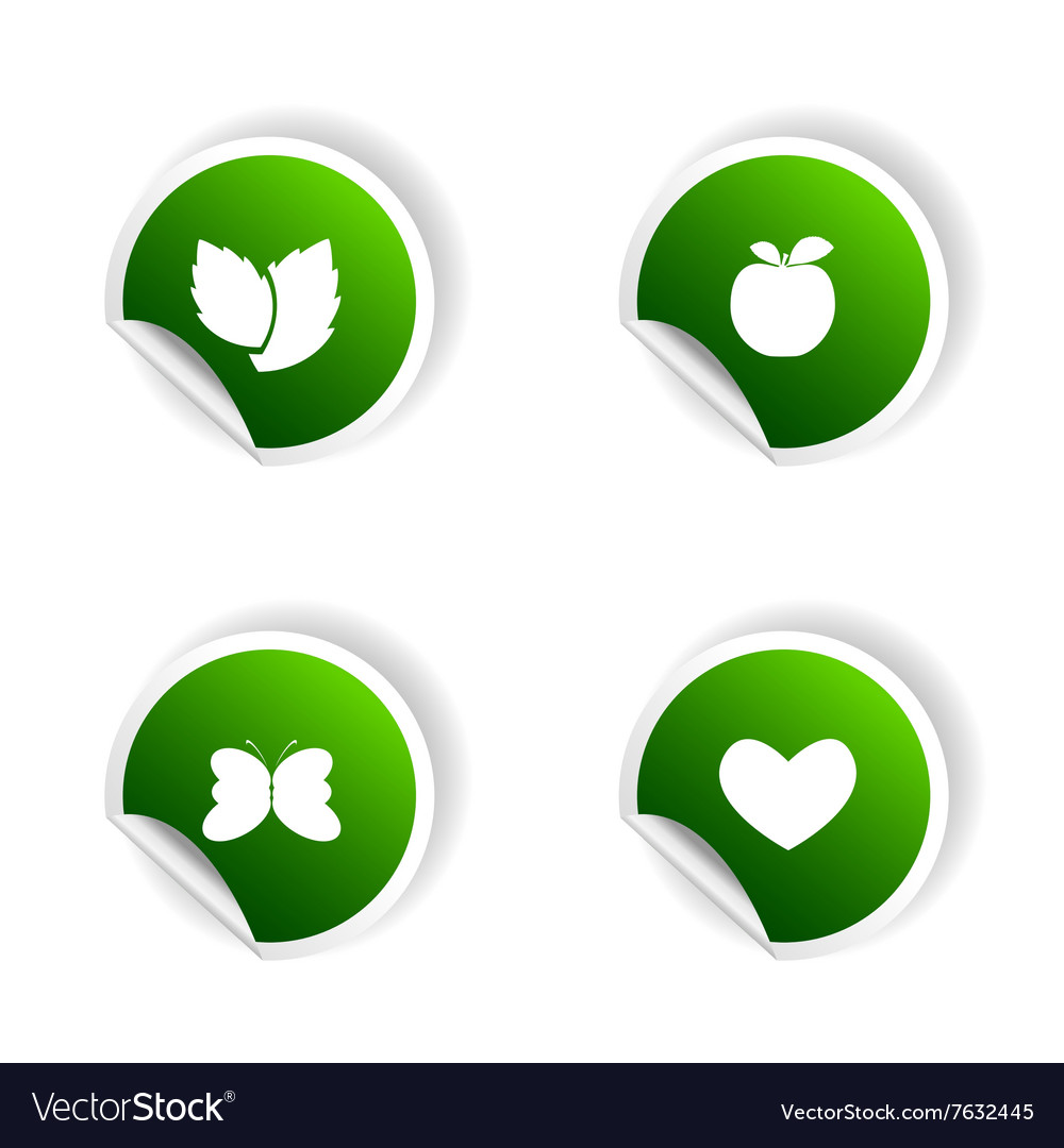 Sticker of plant and heart in green vector