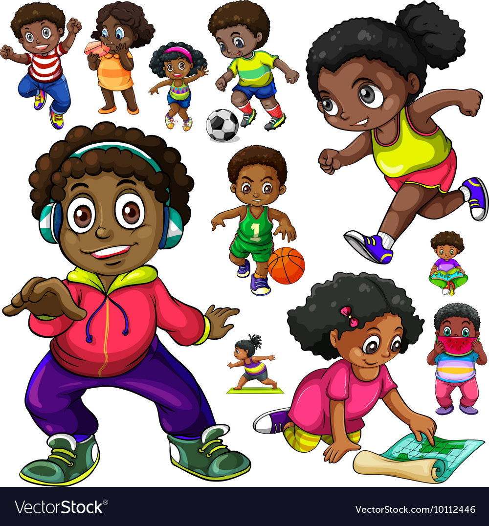 African american kids doing different things vector