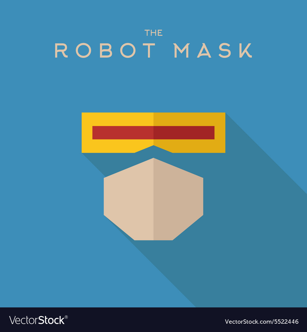 Mask robot hero superhero flat style icon vector