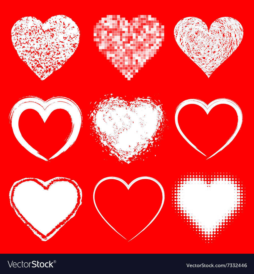 Set of doodle grunge hearts icons vector