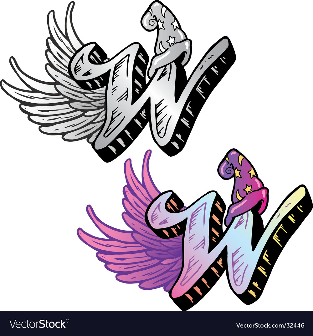 Tattoo letter w vector