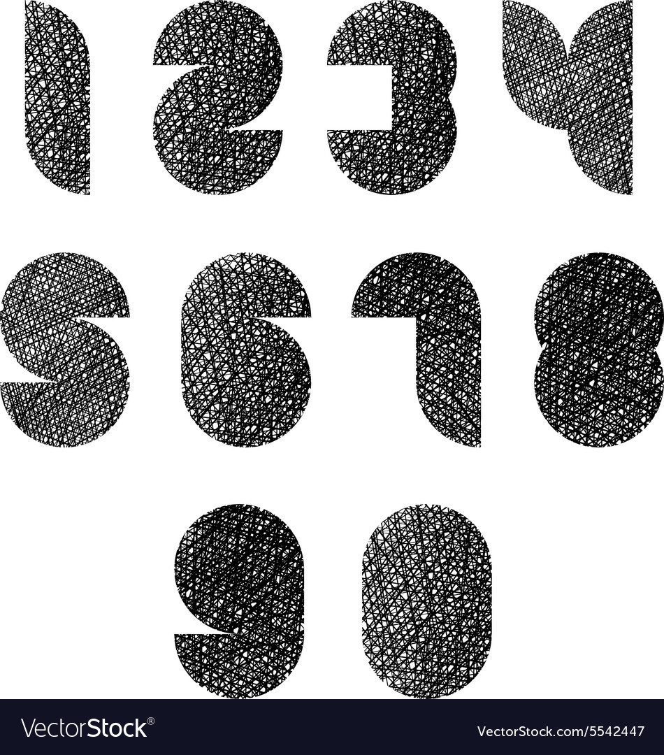 Futuristic shapes numbers set with hand drawn vector