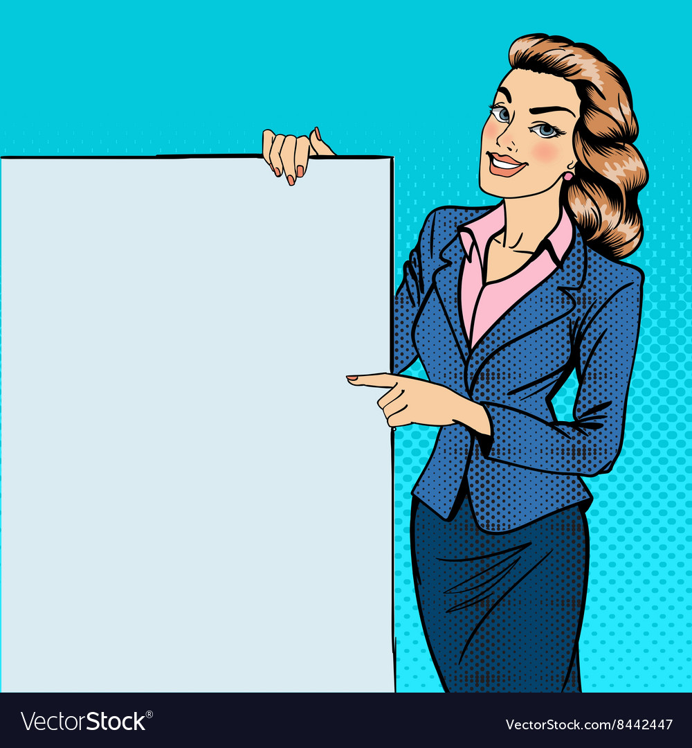 Woman gesturing on poster advertising pop art vector