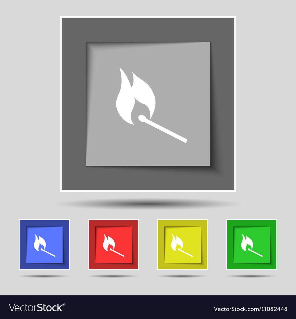 Burning match icon sign on original five colored vector