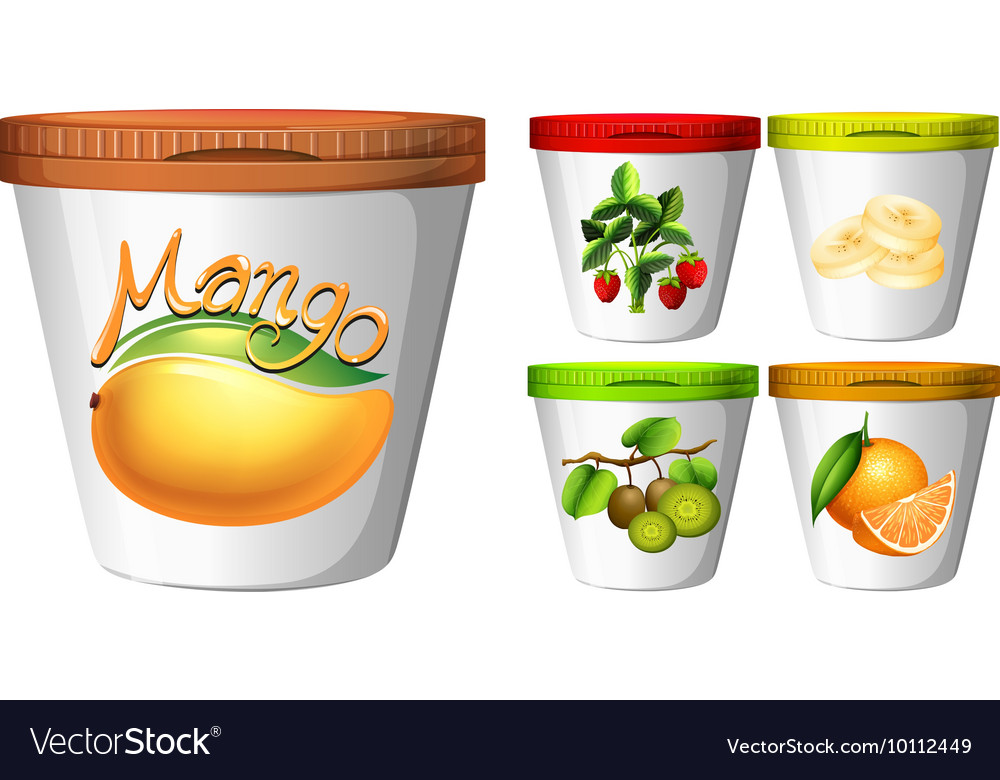 Five cups of yoghurt with fruits vector
