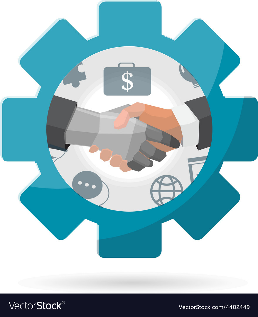 Shake hand gear business vector