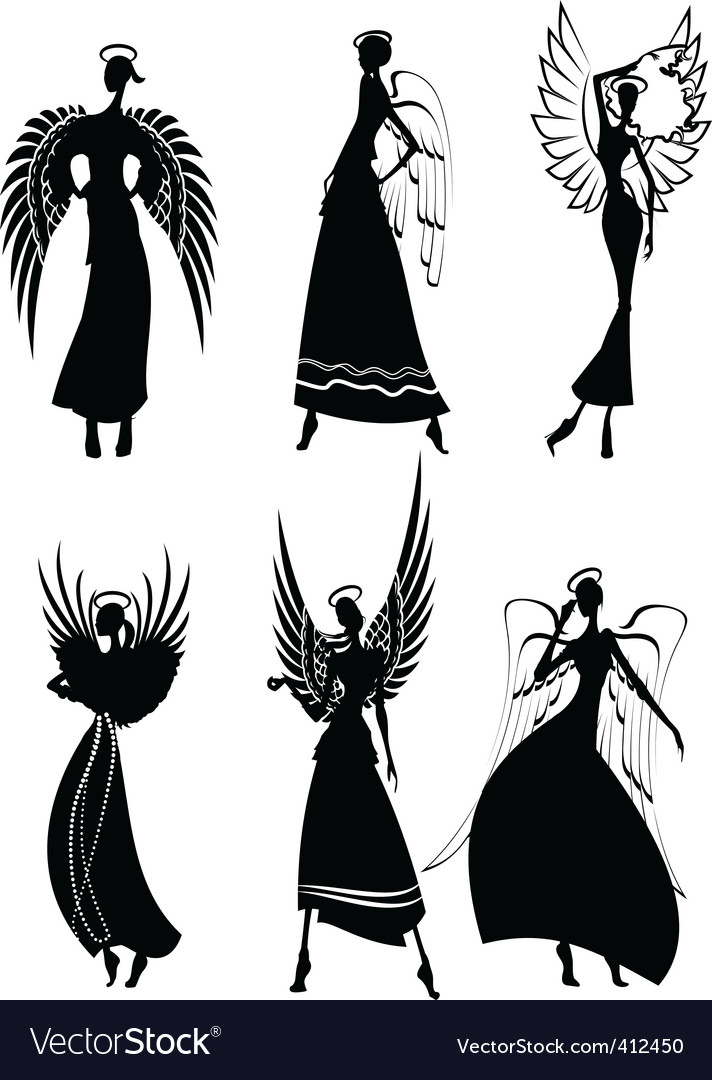 Angel silhouettes vector