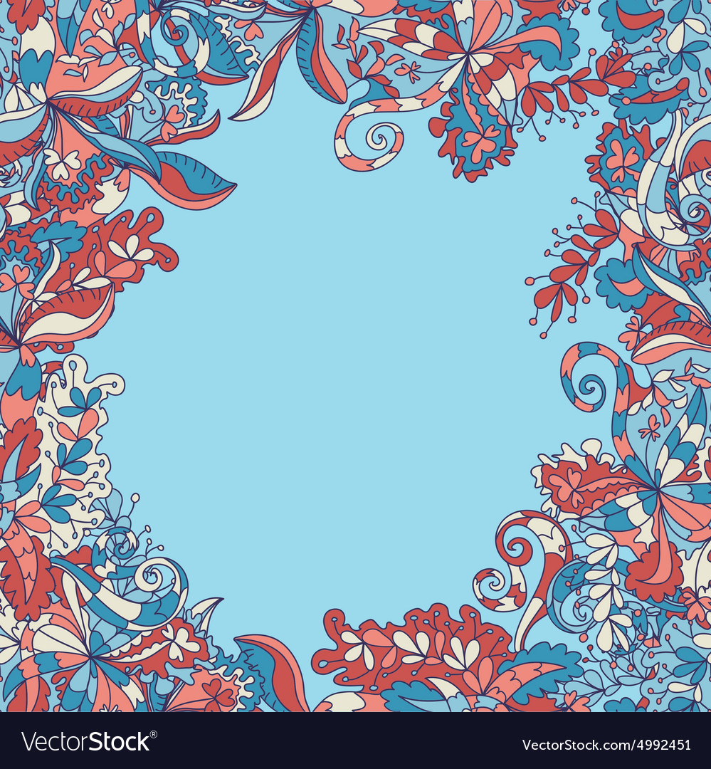 Abstract handdrawn wave floral pattern vector