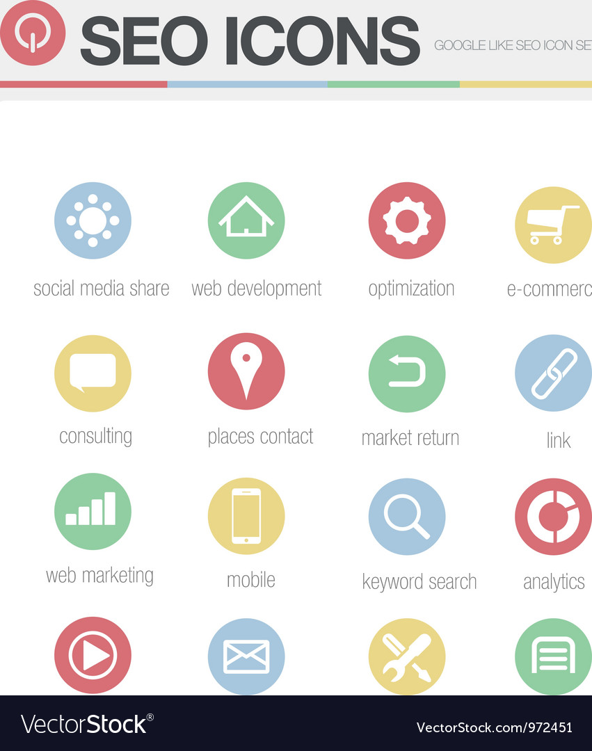 Seo google like icons set volume 2 vector