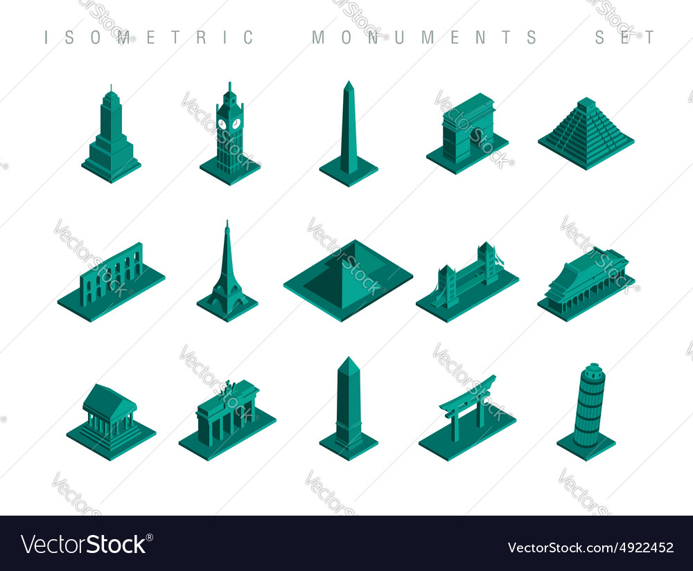 Isometric travel monuments set vector