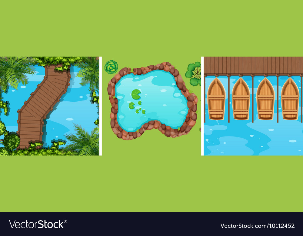 Scenes of water park from top view vector