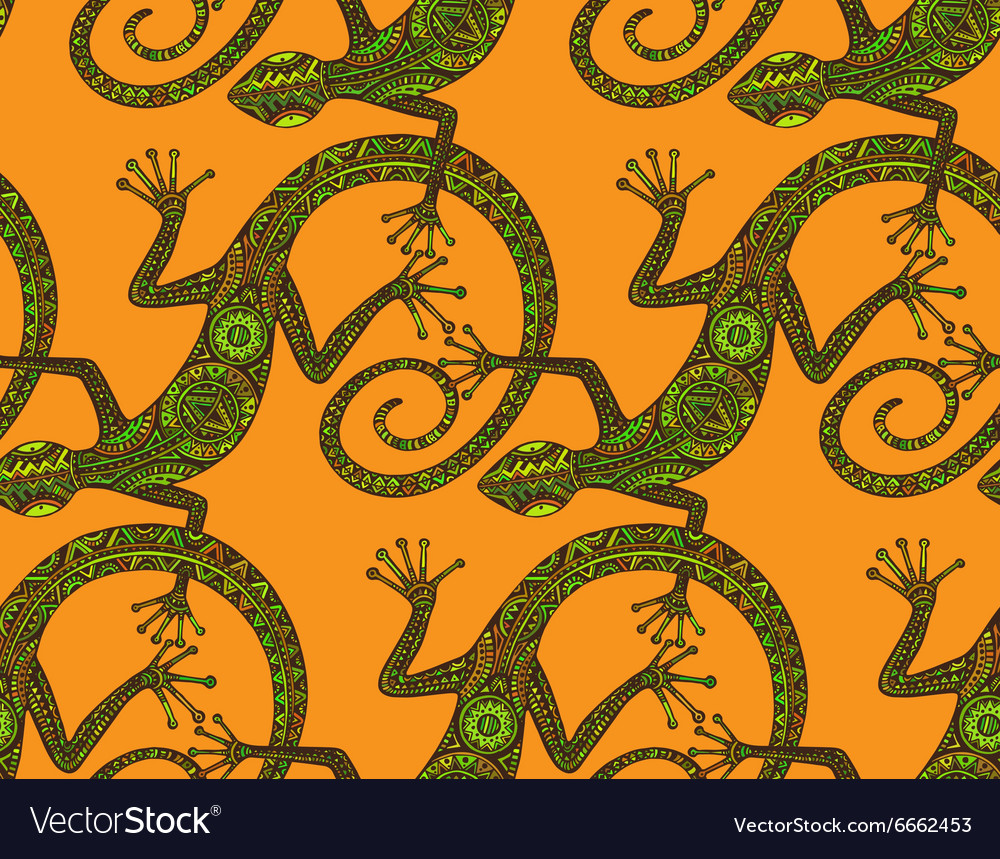 Hand drawn seamless pattern with lizards or vector