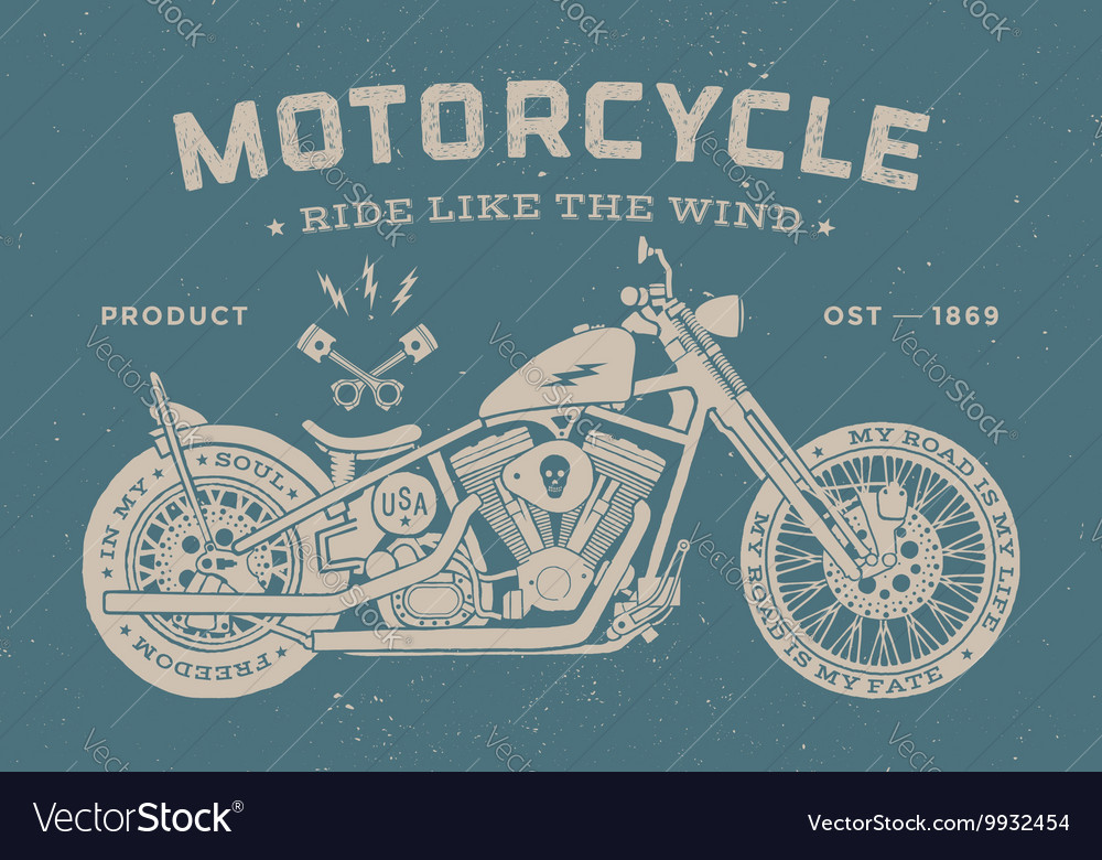 Vintage race motorcycle old school style poster vector