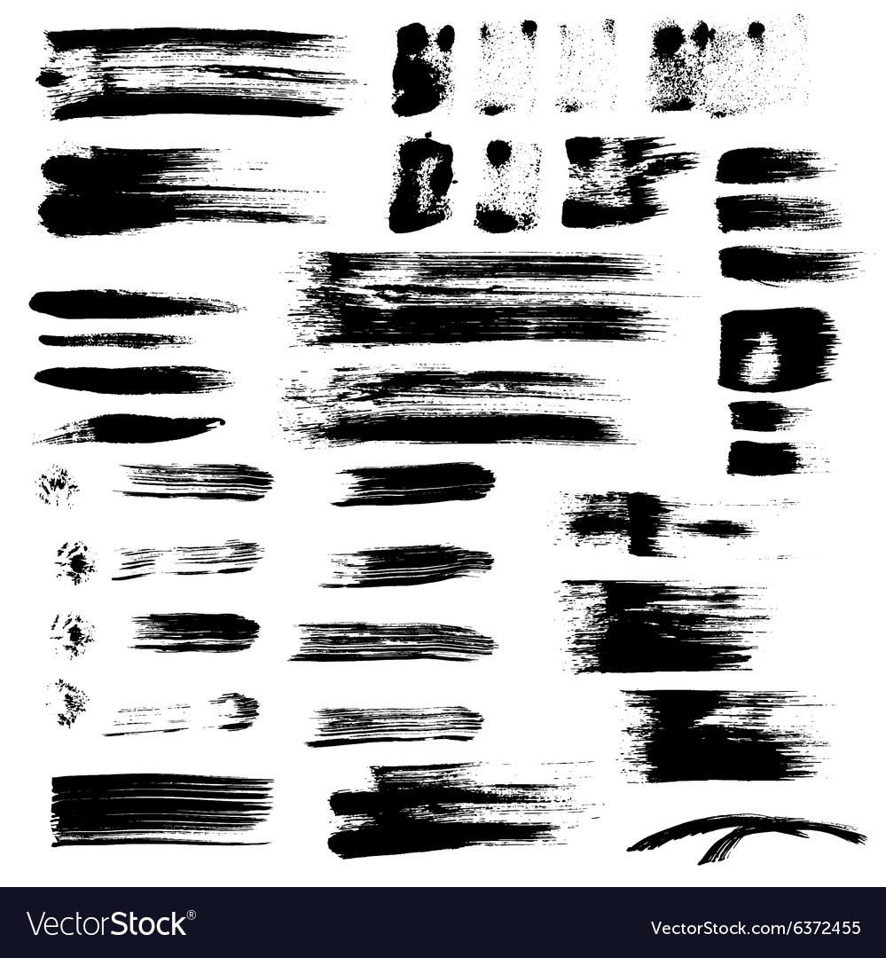 Black paint brush strokes collection vector