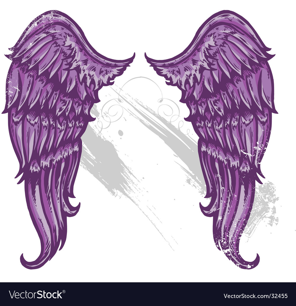Hand drawn tattoo style wings vector