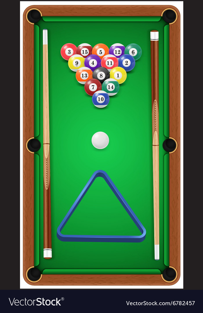 Billiard set billard balls cue and billiard vector