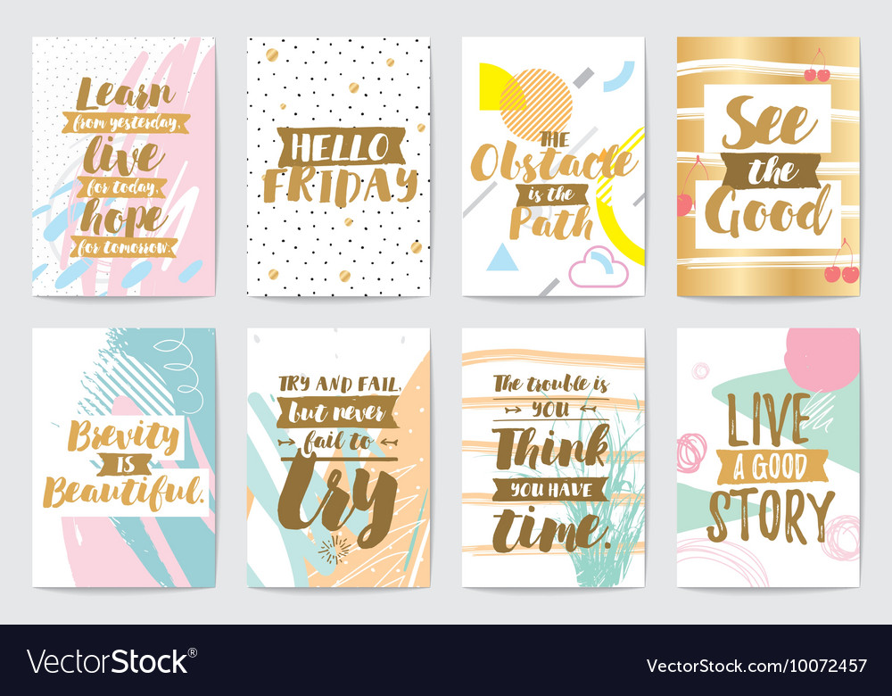 Creative cards with abstract geometric backgrounds vector