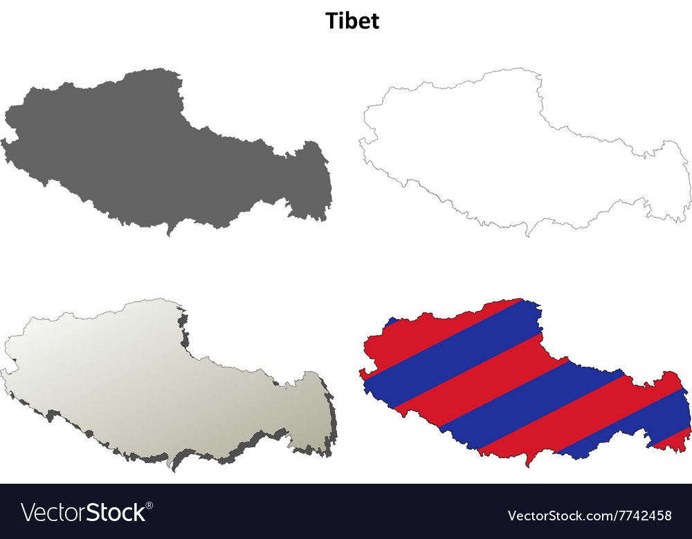 Tibet outline map set  tibetan version vector