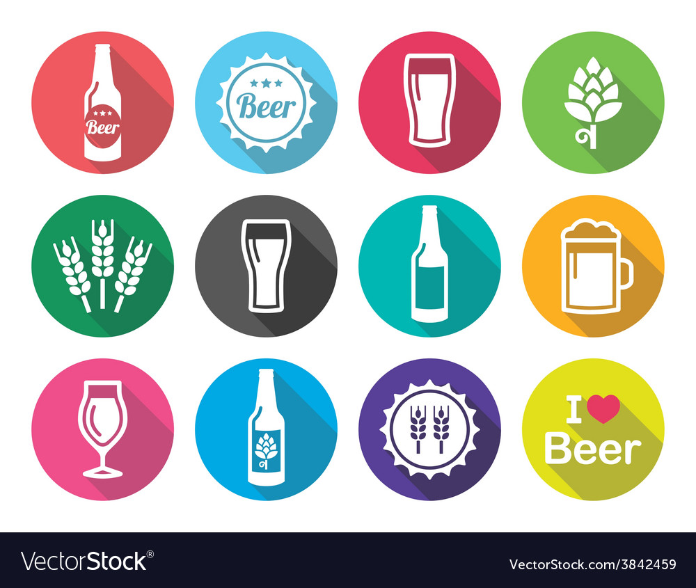 Beer flat design round icons set  bottle glass vector
