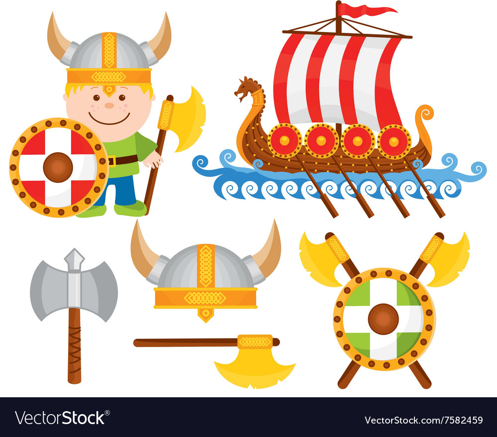 Little viking cartoon icon set vector