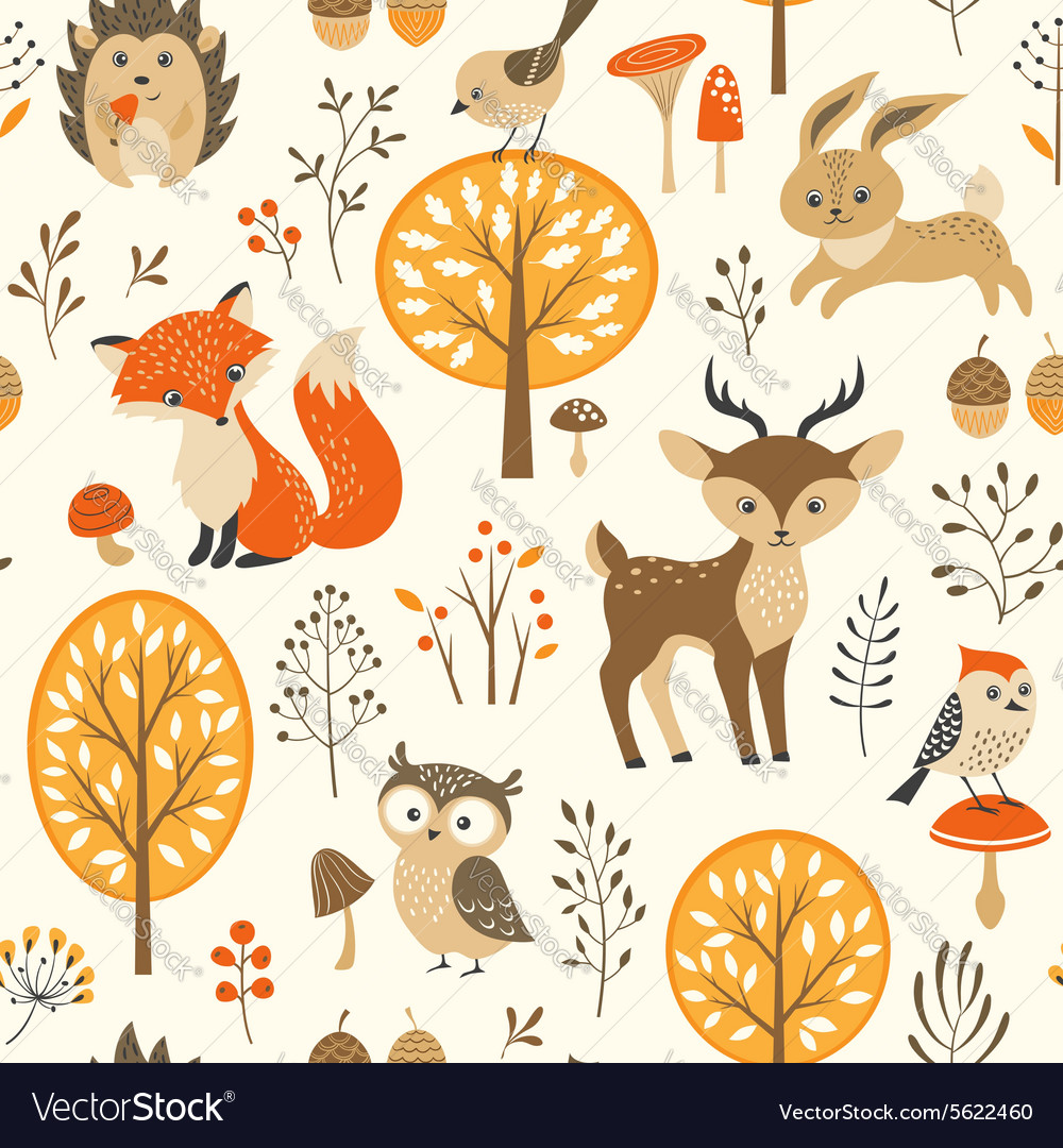 Cute autumn forest pattern vector