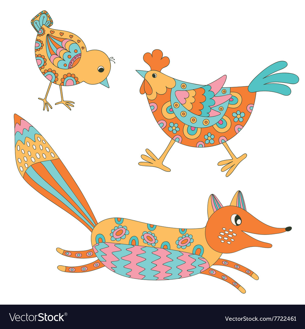 Set of hand drawn animals  fox hend and chicken vector